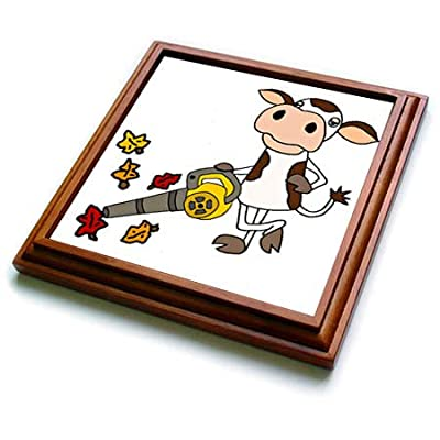 3dRose All Smiles Art - Funny - Cute Funny Unique Cow using Leaf Blower Cartoon - Trivets