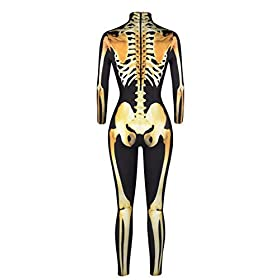 skeleton catsuit - 416x6WAFgSL - Quesera Women's Halloween Costume Skeleton Zip Up Skinny Catsuit Stretch Jumpsuit