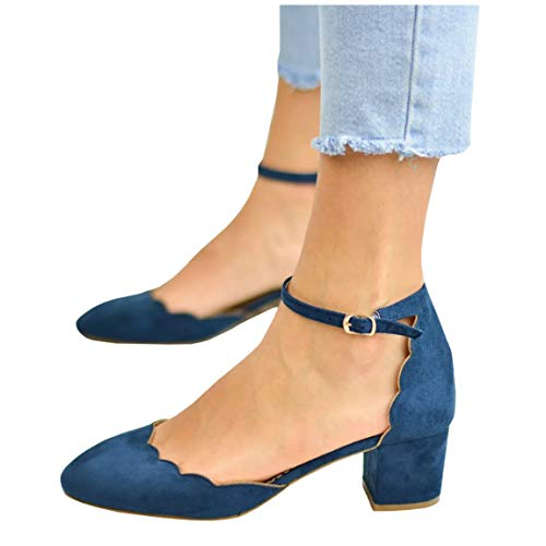(Womens Heeled Ankle Buckle Block Pointed Toe Cut Out Pumps Sandals)