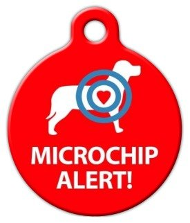 Microchip Alert Dog Pet ID Tag for Dogs and Cats - Dog Tag Art - LARGE SIZE by Dog Tag Art