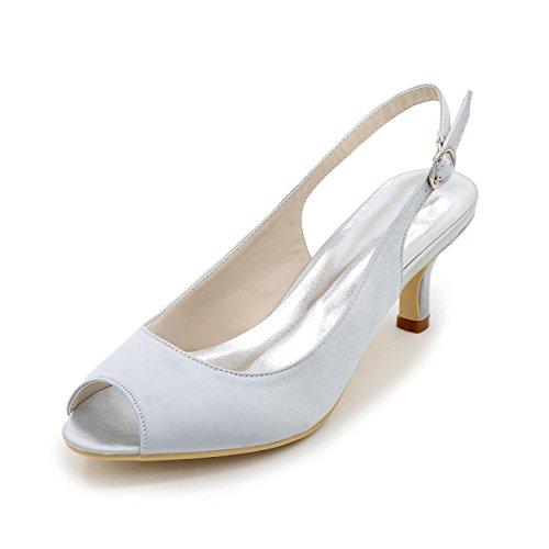L@YC Women's Spring / Summer Heels Satin / Stretch Satin Wedding Stiletto High Heel Silver vsw7HnK