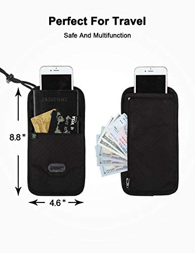 GOX Cell Phone Bag, Travel Neck Wallet With RFID Blocking, Travel Document Holder