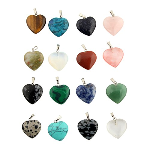 Shape Pendant Bead (30pcs Heart Shape Healing Chakra Beads Crystal Quartz Stone Random Color Pendants for Necklace Jewelry Making)