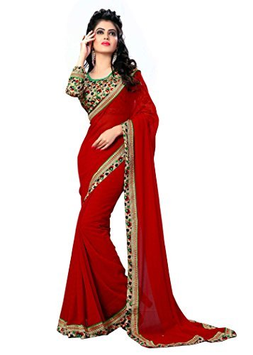 OOMPH! Women's Sarees Chiffon Printed Blouse & Border Crimson Red Free Size