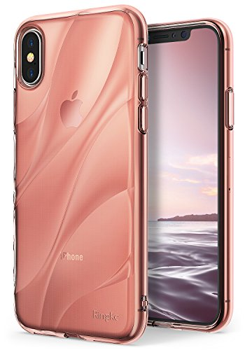 Ringke [Flow] Case Compatible with iPhone X, [Qi Wireless Charging Compatible] Minimalist Wavy Textured TPU Form Fitting Lightweight Drop Resistant Protection Transparent Design Cover - Rose Gold