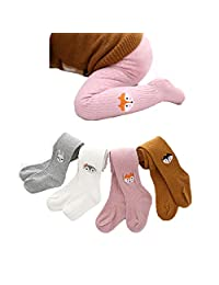 Baby Girls Cable Knit Tights Toddler Embroidered Cotton Legging Pants Warm Stockings