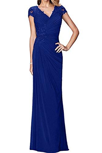 Arm Festlich V Chiffon Abendkleider Ausschnitt Promkleider Damen Brautmutterkleid Royalblau Ivydressing n1Xx5qHE