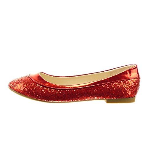 Sopily - Scarpe da Moda ballerina alla caviglia donna paillette verniciato Tacco a blocco 1 CM - soletta sintetico - Rosso
