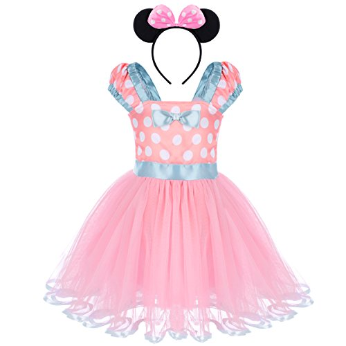 Baby Girls Minnie Costume Vintage Polka Dot Dresses Princess Party Tutu Skirt with Bow Ear Headband 2PCS Set for Kids Toddler Birthday Christmas Halloween Cosplay Pink + Light Blue 2-3 Years