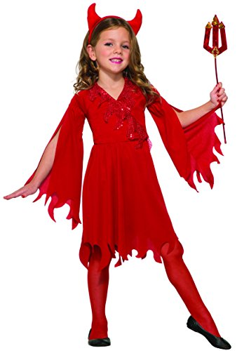 Devil Red Dress Costume (Forum Novelties Kids Delightful Devil Girl Value Costume, Red, Small)