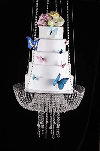 Butterflyevent Acrylic Chandelier Style Drape Suspended Cake swing 45cm Round cake plate stand