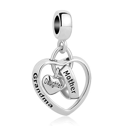 - CharmSStory Mom Mother Daughter Heart Love Dangle Charm Beads for Snake Chain Bracelet (Grandma Mother Daughter)