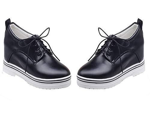 Up Pumps Solid Closed TSDDH005818 AalarDom Toe Round PU Shoes Black Lace Women's xpwqRfI