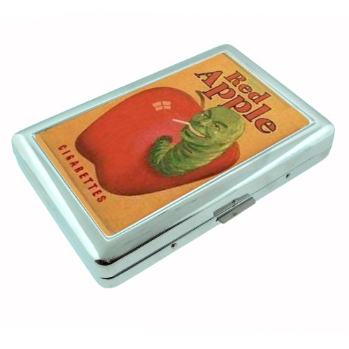 Red Apple Cigarette Green Worm Metal Silver Cigarette Case Holder Box D-021 (Red Cigarettes Apple)