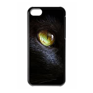 wugdiy Customized Cell Phone Case Cover for iPhone 5C with DIY Design black cat eye