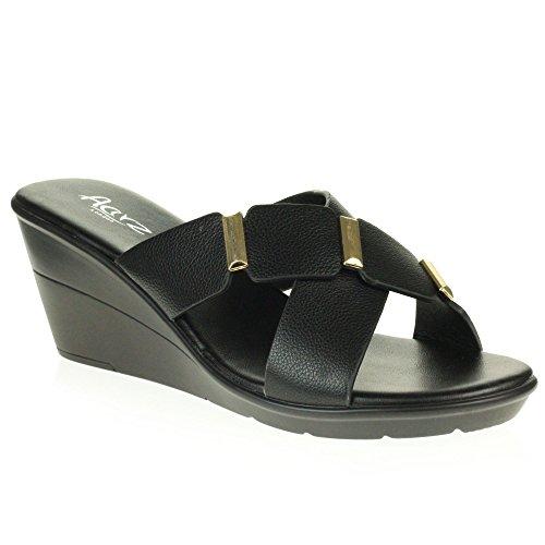Open Chaussures Confort Toe compensé sur Moyen Talon Dames Décontractée Été Poids Femmes Sandales Noir des léger Glisser Taille XAgqEq