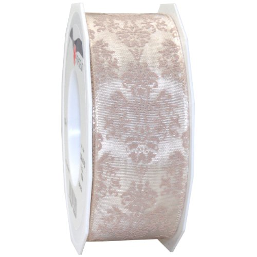 Tafetta Bow (Morex Ribbon Baroque Floral Printed Taffeta Ribbon, 1-1/2 by 22-Inch Yard Spool, Champagne)