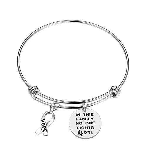 In This Family No One Fights Alone Bracelet Cancer Awareness Bracelet Cancer Survivor Gift (braceletS)