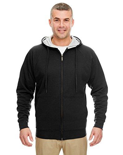 UltraClub 8463 Thermal Full Zip Sweatshirt Black/Heather Grey Hood ()