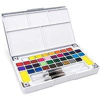 مجموعة ألوان مائية بلون موحّد، مكونة من 36 لونًا مع طقم فرش للرسم المائي، لوازم فنية