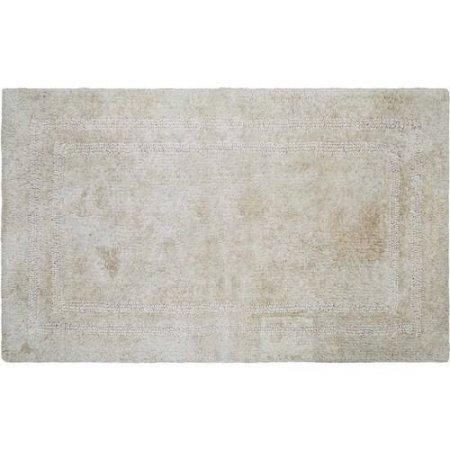 Cotton Reversible Bath Rug, 100 percent Cotton 17''x24'' (Papyrus Beige)