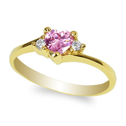 Pink Gold Heart Ring (JamesJenny Ladies Yellow Gold Plated 0.5ct Heart Pink CZ Fashion Ring Size 9)