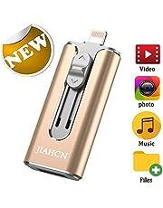 USB Flash Drive Photo Stick for iPhone Flash Drive 128GB JIAHCN iPhone External Storage USB 3.0 Mobile Memory Stick for iPhone,Android,PC Photo iPhone Picture Stick (Gold)