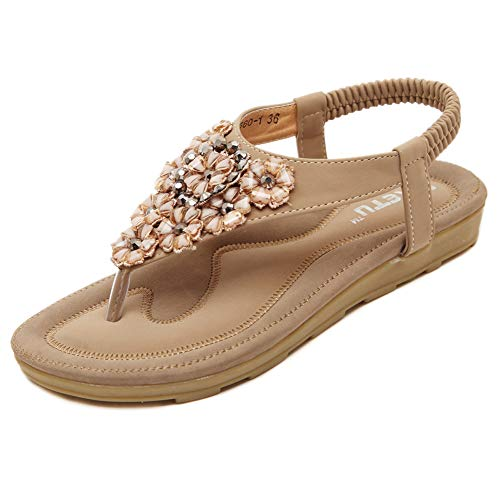 Fnnetiana Women's Summer Thong Flat Sandals Bohemian Beaded Flower Ankle Strap Flip Flops Shoes(7 B(M) US,Beige) -