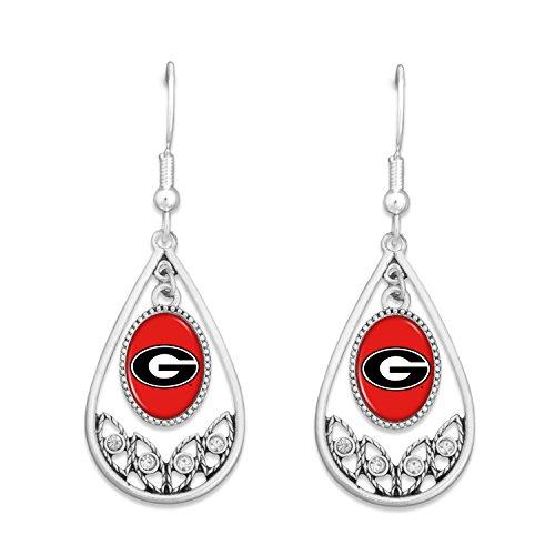 Georgia Bulldogs Hoop - FTH Georgia Bulldogs Logo Silver Tone Tear Drop Hoop Earrings with Clear Rhinestones