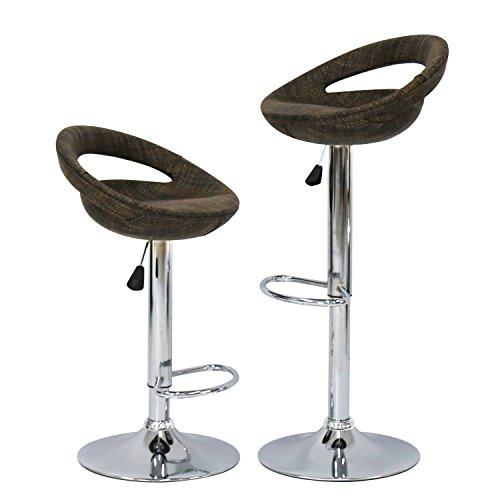 Upholstered Wicker Bar Stool - Kinbor Modern Adjustable Swivel Bar Stool Textilene Barstools Hydraulic 2 Pack - Rattan Wicker (Hollow)