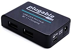 Plugable Usb 2.0 4-port High Speed Charging Hub With 12.5w Power Adapter & Bc 1.1 Charging Support For For Android, Apple Ios, & Windows Mobile Devices