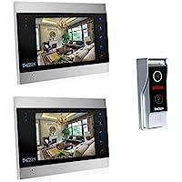 TMEZON 7 Inch TFT Color LCD Display Video Door Phone Visual Intercom Doorbell 1-Camera 2-Touch Screen IR Night Vision