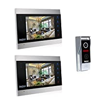TMEZON 7 Inch TFT Color LCD Display Video Door Phone Visual Intercom Doorbell 1-Camera 2-Touch Screen IR Night Vision