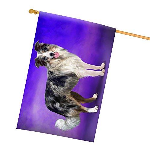 Border Collie Blue Merle Dog All Weather House Flag