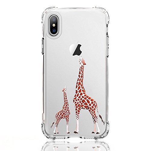 luolnh iPhone X Case,iPhone 10 Case, [New Creative Design] Flexible Soft TPU Silicone Gel Soft Clear Phone Case Cover for iPhone X 2017(2 Giraffe)