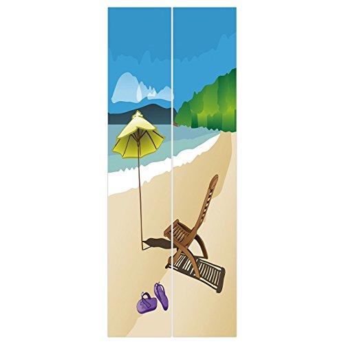 Reptile Sandal 4 - 3d Door Wall Mural Wallpaper Stickers [ Summer,Beach Sunshine Sand Waves Sandal Deckchair Holiday Relaxation Vacation Cartoon Print,Multicolor ] Mural Door Wall Stickers Wallpaper Mural DIY Home Decor