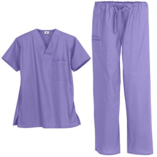 Strictly Scrubs Unisex Medical Uniform Set (Large, Dark Lilac)
