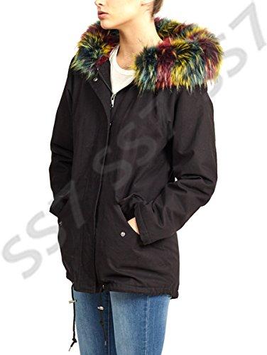 Manteau Faux Tailles Multi 16 Fourrure Pour Noir 8 Ss7 Femmes Parka CqaXXw