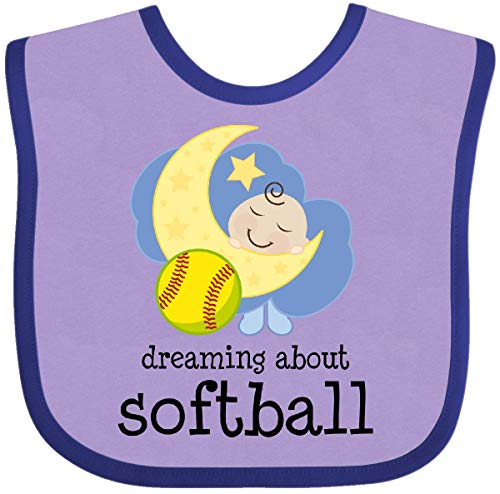 Dreaming About Softball - Inktastic - Dreaming About Softball Baby Bib Lavender and Purple ee36