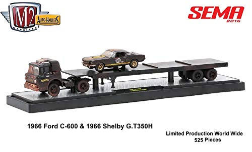 (M2 Machines Limited Edition SEMA 2016 Exclusive 1966 Ford C-600 & 1966 Shelby GT350H Auto-Haulers Castline 1:64 Scale Die-Cast Vehicle & Display Case (1 of only 525 Pieces Worldwide))