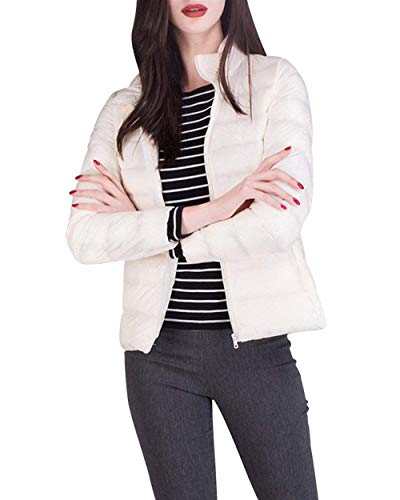 Plumas Lounayy Temporada Talla Grande 2XL Stand Pluma Chaqueta Fashion Larga Casual Color Elegantes Blanco Ultraligero Abrigos Invierno Unicolor Cuello Manga De Termica Slim Mujer Size Fit xwznw4H