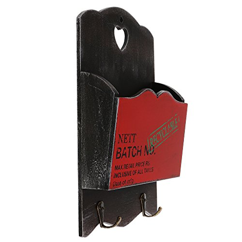 Wall Mounted Wooden Mail Key Organizer Letter Holder Great for Home Garden Red from MonkeyJack