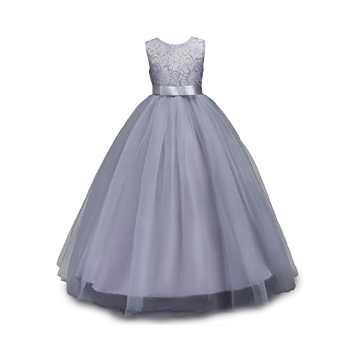 Muababy Big Girls Lace Bridesmaid Dress Dance Gown A Line Dresses (7-8 Years, Gray)