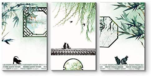 3 Panel Cats Playing in a Chinese Garden Watercolor Art x 3 Panels
