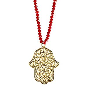 Alwan Red Crystal Necklace with Fatima's Hand for Women - EE3724HGR