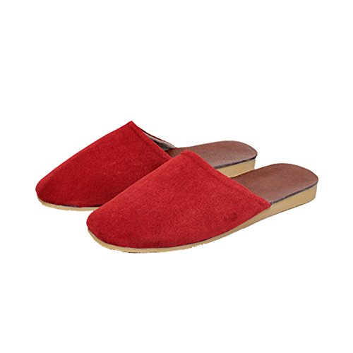 Primavera casa Verano os TELLW Zapatillas Oto Roja Da Cuero de de Zapatillas Mudo Suelo o Mujer Invierno Cuero sin 5rr8Wz6n