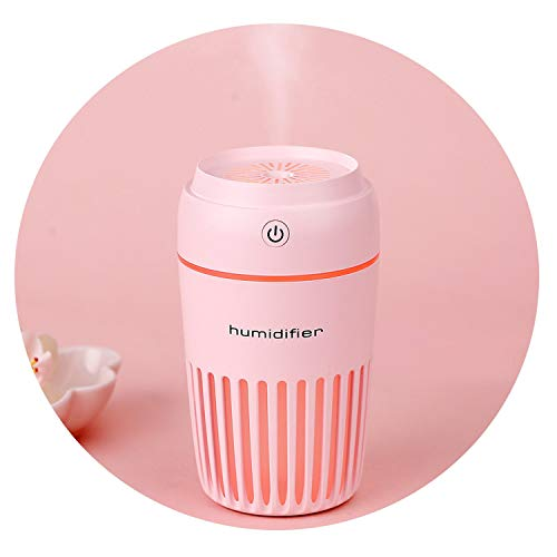 (No Buy No Bye Colorful Night Light Ultrasonic Humidifier USB Air Purifier 300ML Mini Aroma Diffuser Mist Maker Fogger for Home Office Car,Pink )