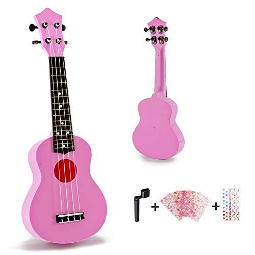 Toy Ukulele Soprano 21 inch Hawaiian Guitar Plastic Ukulele for Children Kids Gift Macaron Color Style-Pink