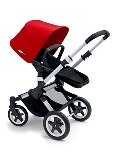 Cheap Bugaboo 2015 Buffalo Stroller Complete Set in Aluminum and Black (Red)
