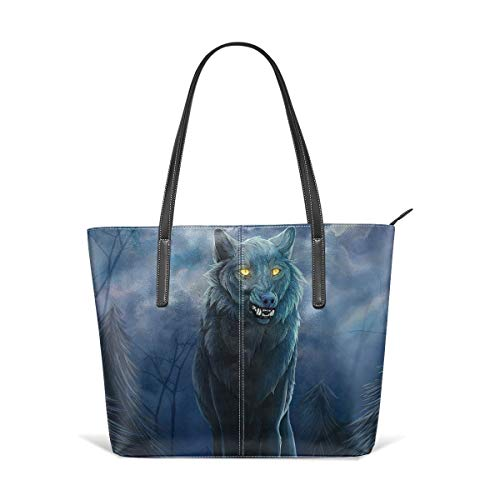 Women's Soft Leather Tote Shoulder Bag Moonlit By Wolf Big Capacity Casual Portable Handbag Purses Work Travel Bag (The Wolf Of Wall Street First Wife)